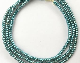 254 Nice Mint Green Luster African glass seed beads