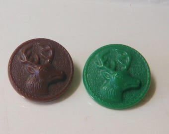 2 Sporting Hunters Buttons Plastic High Relief