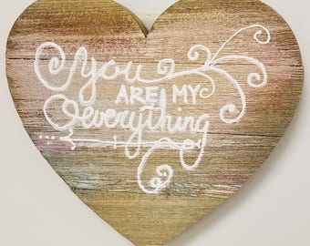"11"" Wood Heart, Hand painted with customized 3D sayings"