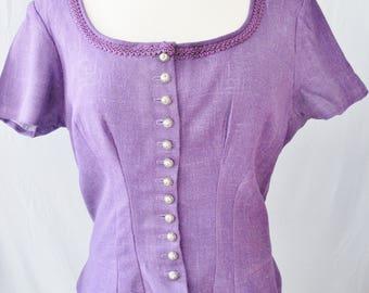 Linen TRACHTEN DIRNDL Top, Purple, Hand Made, Fabric Construction, Alpine Look, Country Style, Bavarian, Austrian,
