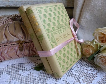 Set of 2 french pale yellow hardback books. 1930s. Jeanne d'Arc living. Rustic romantic. French Nordic decor. Pretty books shabby french.