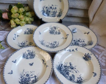 Set of 6 Antique french transferware soup plates. Blue transferware plates. Navy blue Butterflies Flowers. Salad plates. French Nordic decor