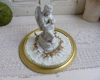 Vintage round mirrored vanity tray. French boudoir. Bathroom vanity tray. Perfume tray. Statue stand. French shabby chic.