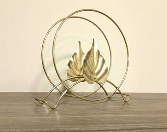 Vintage Metal Napkin Holder, Brass Leaf Kitchen Decor, Retro Kitchen