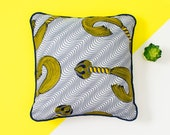 African Pillow Cover - Decorative Pillow - Couch Pillow - Throw Pillow - Homewares -  Scatter cushion - cushion cover - Navy and yellow whip