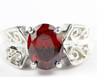 On Sale, 20% Off, Garnet CZ, 925 Sterling Silver Ring, SR281