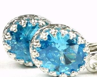On Sale, 30% Off, Glacier Blue CZ, 925 Sterling Silver Crown Bezel Leverback Earrings, SE109