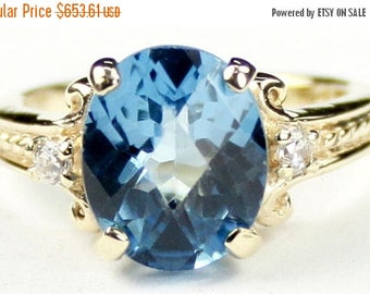 On Sale, 30% Off, Swiss Blue Topaz, 14KY Gold Ring, R136