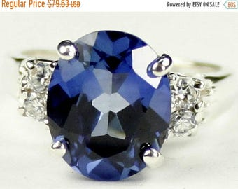 On Sale, 30% Off, Created Blue Sapphire, 925 Sterling Silver Ring, SR123