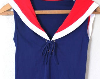 vintage lace up  red & navy blue sailor tank top
