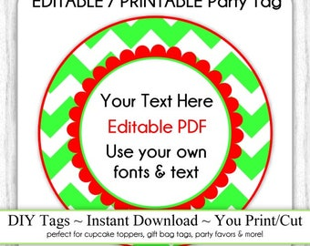 Printable Christmas Party Favor, Green and Red Chevron Editable Party Tag, INSTANT DOWNLOAD, Use as Cupcake Topper, DIY Party Tag