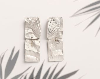 Long Drop Sterling Silver Earrings, Minimalist Gold Earrings, Geometric Gold Earrings, Gold Statement Earrings, Oxidized Silver Earrings