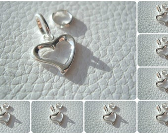 Small Sterling Silver 925 Open Heart Design Pendant Or Charm ~ 16mm