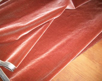 "Antique Victorian Silk Velvet Fabric Yardage Made in France 1900s ""Amaretto """