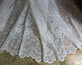 """LACE Large and Long  //  Wedding Veil or Lace Curtains  //  White with Scalloped Hem  //  114"""" by 114"""" Piece  //  Many Uses"""