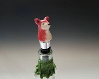 Porcelain Fox Wine Bottle Stopper
