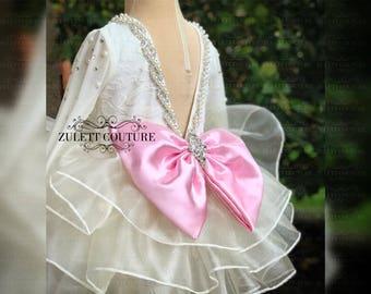 Flower Girl Dress - Lace Dress - Big Bow Dress -Wedding Dres- Girls Lace Dress - Sairah Dress by zulettcouture