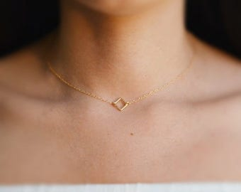 SALE Square necklace, gold necklace, tiny gold necklace, simple necklace, dainty necklace, square link necklace,gift for women- 017