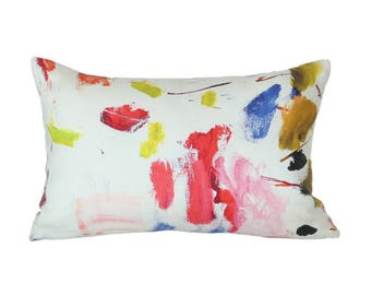 Arty lumbar designer pillow cover - Pierre Frey fabric - 1 SIDED or 2 SIDED - Made to Order - Choose Your Size
