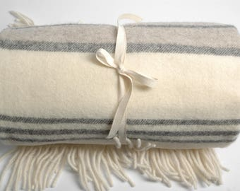 Pure Merino Wool blanket with fringes Striped White Grey Beige Cute Wool blanket Pure wool throws Wool throw 51''X81''130X205cm Perfect gift