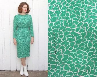 Vintage 70s Dress   70s Green and White Giraffe Print Wiggle Dress   Small S