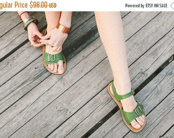 SALE 25% OFF: Leather Sandals, Leather Greenery Sandals, Women Sandals, Strappy Sandals, Women's Shoes, Flat Summer Shoes, Summer Shoes, Lea