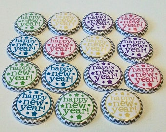 Colorful Happy New Year Set of 15 1 inch Flat Back Buttons Embellishments Buttons Flair
