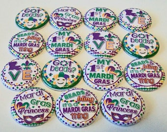 Mardi Gras Princess Green and Purple Set of 15 1 inch Flat Back Buttons Embellishments Buttons Flair