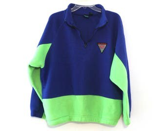 Vintage 90s fleece jacket California Blue neon green blue 80s
