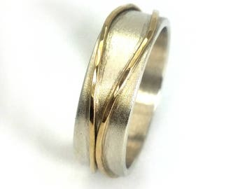 Men's wedding ring, men's wedding band, sterling silver band with two yellow gold stripes soldered on top, Father's Day gift, ilanamir