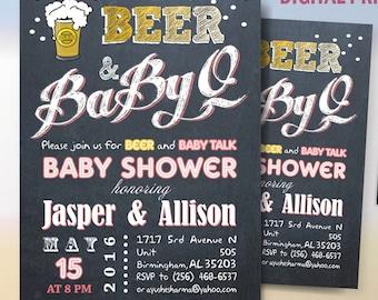 BabyQ Baby Shower / Beer BabyQ Party invitation / Beer Baby Shower / Co-ed BBQ baby shower / DIY