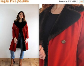 30% OFF SALE Vintage 70's PARKA faux fur Collar Belted Winter Jacket coat