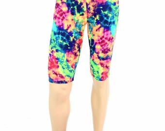 "Men's ""Sahara"" Shorts in UV Glow Acid Splash Print Spandex Dude Bro Man Shorts - 154750"