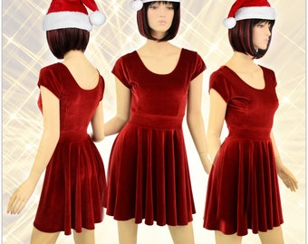 Christmas Red Stretch Velvet Darted Cap Sleeve Fit and Flare Skater Dress Holiday Party Dress -E7401