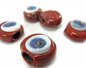 5 Pc Hand Made Evil Eye Beads, Nazar Beads, Bohemian Jewelry, Red Evil Eye Beads, Artisan Handmade Turkish Evil Eye, Turkish Jewelry