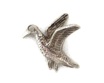 Sterling Silver Bird Charm, Vintage 3D Flying Bird Pendant