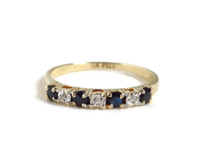 Vintage Diamond Sapphire Ring, 10K Gold Multistone Anniversary, Wedding Ring, Size 5.75