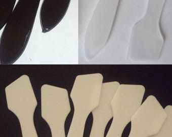 100 Slant Tip Spatulas Make-Up Cosmetic Mixing Sampling [White, Black or Frost)