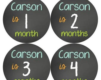 PERSONALIZED Baby Boy Month Stickers Monthly 12 Sticker Monthly Baby Stickers Chalkboard Gift Photo Prop Milestone Sticker 503
