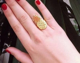 Gold plated sterling silver ring pineapple and orange resin.
