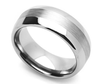 8MM Comfort Fit Tungsten Carbide Wedding Band Brushed Center Flat Ring(CT401RTN)