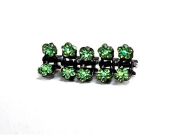 Hand Made Hair Jewelry Flower Mini Jaws swarovski crystal Petals Set of 5 Green(SO5021-gn)