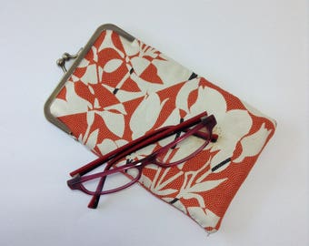 Orange brown Floral Eye glass case/ Smartphone case /Sun glass case / Hand-made/52