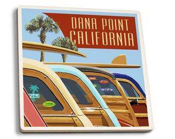 Dana Point, CA - Woodies Lined Up - LP Artwork (Set of 4 Ceramic Coasters)