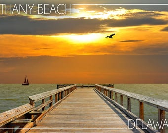 Bethany Beach, Delaware - Dock at Sunset - Lantern Press Photography (Art Print - Multiple Sizes Available)