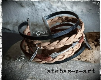Leather, suede and liberty multi-row bracelet cuff