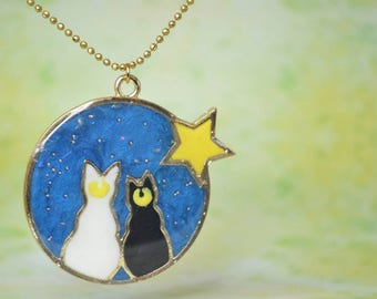 Sailor Moon Inspired Artemis and Luna Necklace