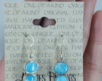 Larimar, Blue Topaz Earrings