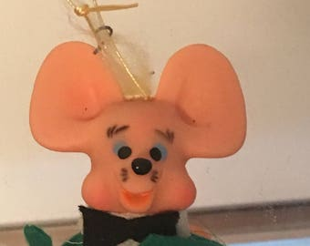 Vintage Christmas Mouse Green Ornament Bow Tie