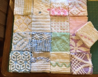 "102 6"" Vintage Chenille Squares (Enough for a quilt)"
